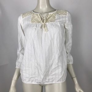 Lucky Brand White Knit Popover Blouse